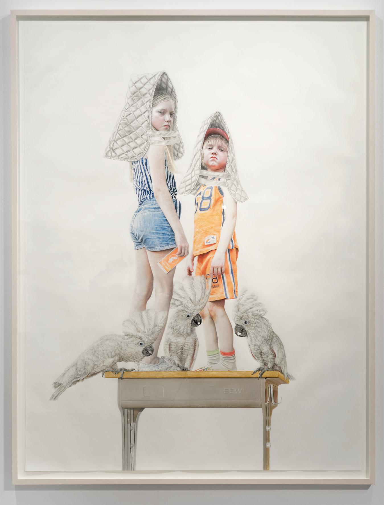 Chalk pastels on paper, frame: marple white glazed, 200cm x 152cm, 2016, Photograph: © Andreas Baudisch, Galerie Gerken