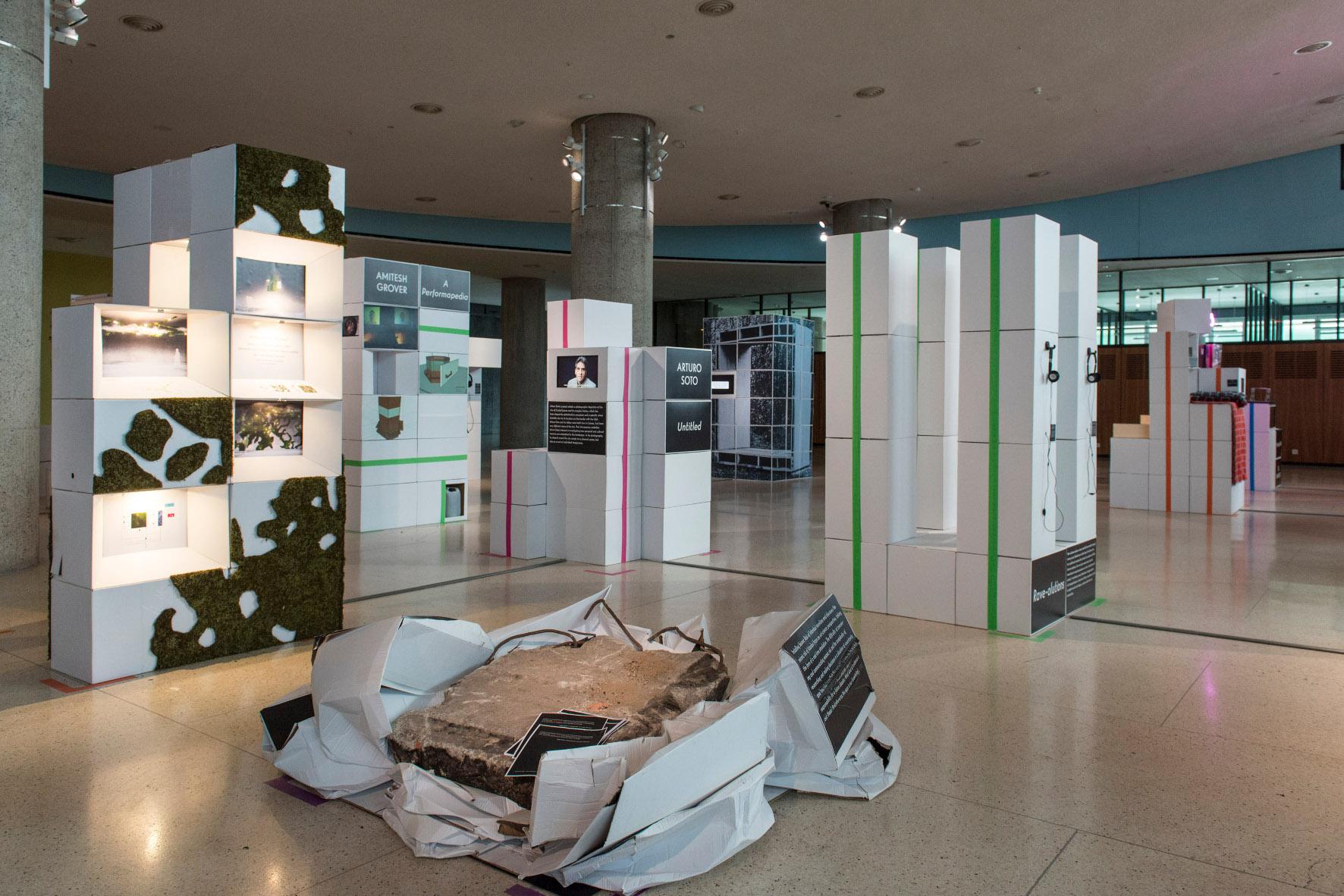Haus der Kulturen der Welt HKW, Berlin  Forecast Forum - Lobby - Meta Display - Conrcrete slab, boxes, 2015 - Copyright Marcus Lieberenz