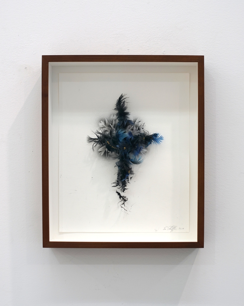 Hyenic '1, (Hyänisch), 2019, Sheet: 25,5 x 31,5cm Feather, ink, gold leaf on paper, Frame: American alder,glazed reddish brown, museum glass, Project: 'How to manage the Apocalypse?'